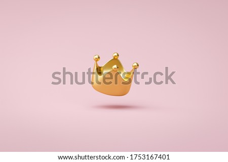 Gold crown on pink background with victory or success concept. Luxury prince crown for decoration. 3D rendering. Сток-фото ©