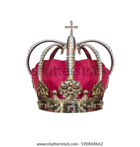 Gold crown with jewels isolated on white. - Shutterstock ID 590868662
