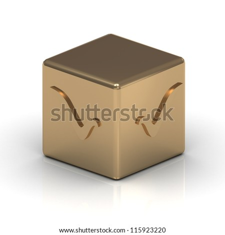 Gold cube engraved with a check mark