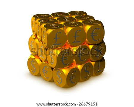 Gold cubes with currency symbols