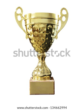 Gold cup isolated on white