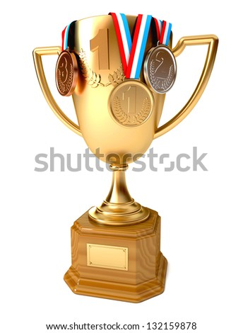 Gold cup of the winner with gold, silver and bronze medals. Conceptual illustration. Isolated on white background. 3d render - stock photo
