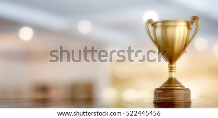 gold cup winner on bokeh background, 3D illustration