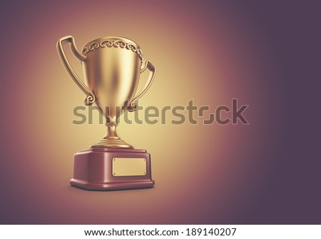 Gold cup winner trophy. 3D Background
