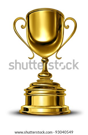 Gold cup winner trophy with a blank metal base on a white background as a success concept for winning and being first and the best in a sports competition or a business leader that is a champion.
