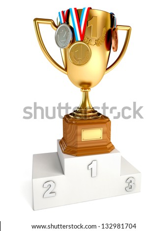 Gold cup winner with gold, silver and bronze medals. Conceptual illustration. Isolated on white background. 3d render
