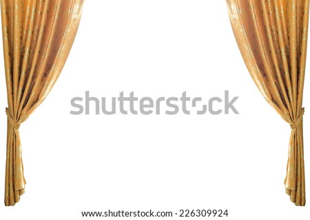 gold curtains on a white background #226309924