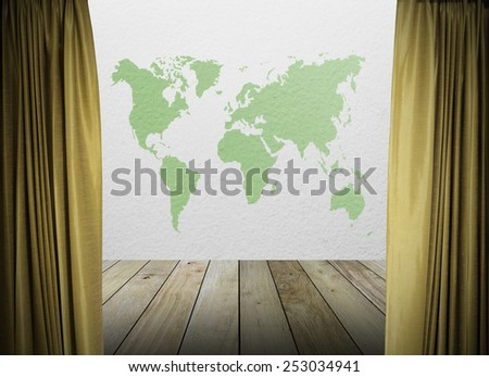 gold curtains on white wall texture and green map of the world with wooden paving.