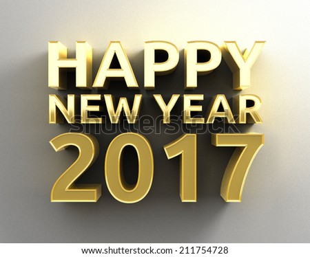 Gold 3D Happy New Year 2017 design template on the wall background with soft shadow. High quality three-dimensional render. #211754728