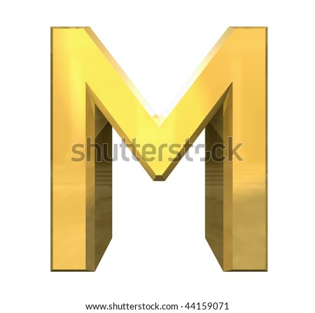 letter m images. stock photo : gold 3d letter M