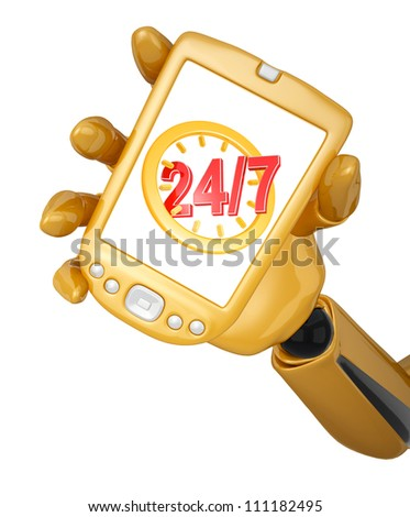 Gold 3d robotic hand hold a gold mobile phone with twenty four hour seven days a week service sign. Including clipping path - stock photo
