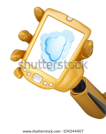 Gold 3d robotic hand hold a gold pda with a cloud computing. Including clipping path
