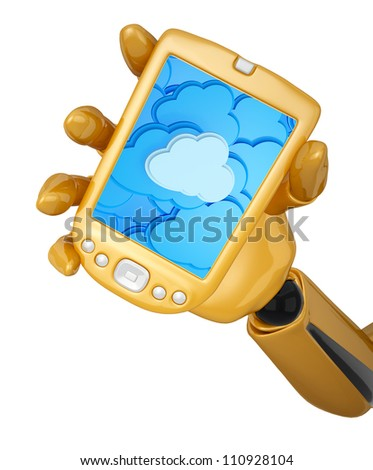 Gold 3d robotic hand hold a gold pda with cloud computing background. Including clipping path