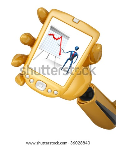 Gold 3d robotic hand hold gold pda with graph. Including clipping path