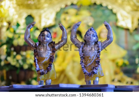 Gold deities covered with Caranamrita (milk, ghee and honey) at the ceremony of Gaura Purnima