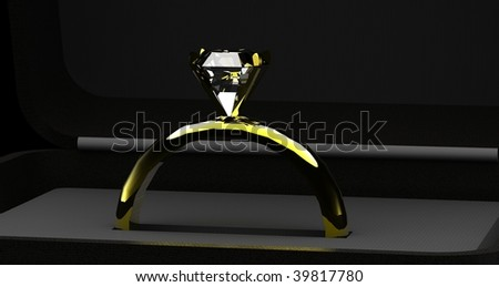 Gold diamond engagement / wedding ring seated in velvet box, close up