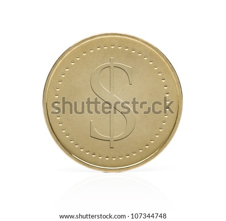 Gold dollar coin isolated on white background