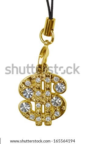 Gold dollar pendant isolated on white