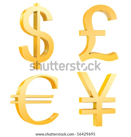 gold dollar,pound,euro,yuan signs isolated on a white background.3d render.also with clipping paths.