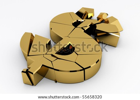 Gold dollar sign crashed on white background