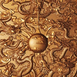 Gold dragon around the gold marble background