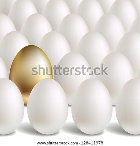 Gold Egg Concept. White and unique golden eggs