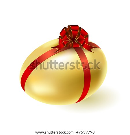 Gold egg with a red bow.