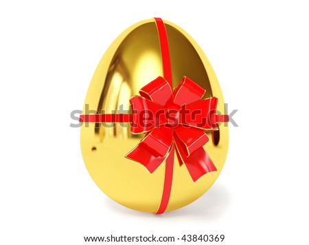 gold egg with bow on white background