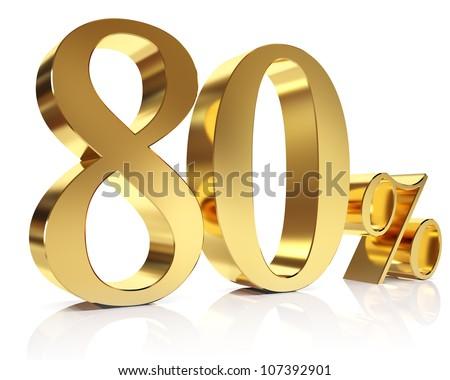 Gold eighty percent discount symbol
