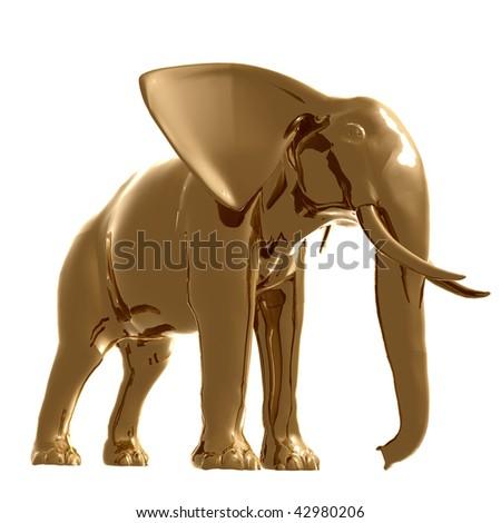 Gold elephant 3d illustration