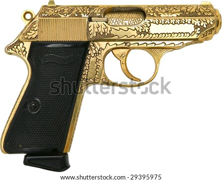 gold engraved gangster pistol isolated on white