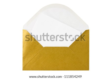 Gold envelope with blank letter. Isolated on white background