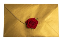 Gold envelope with red rose,top wiew, isolate in white background