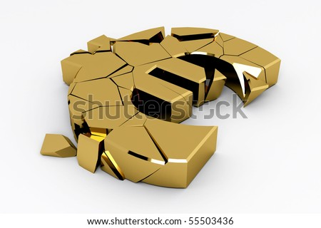 Gold euro sign crashed on white background