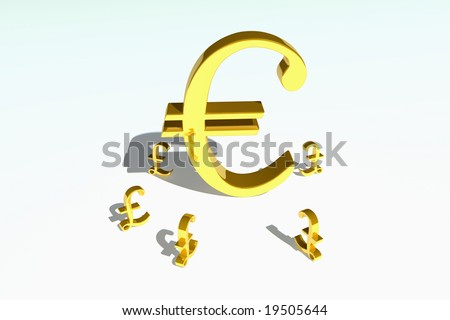 Gold Euro Symbol Looking Strong Surrounded By Gold Pound Symbols