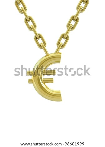 Gold euro with chain - stock photo