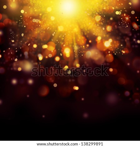 Gold Festive Christmas background. Golden Abstract Backdrop with Lights and Stars. Bokeh
