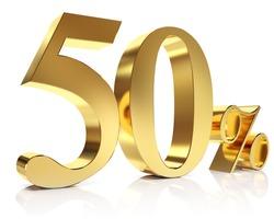 Gold fifty percent discount symbol