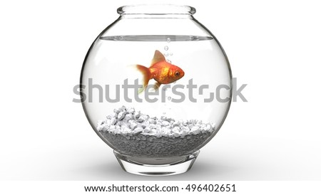 Shutterstock Gold fish swimming in a fishbowl - 3D Illustration