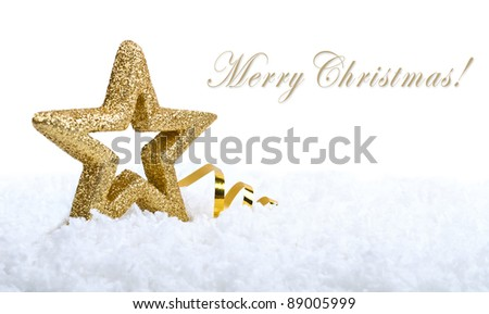 Gold five pointed star christmas decoration on snowflakes background (with sample text)