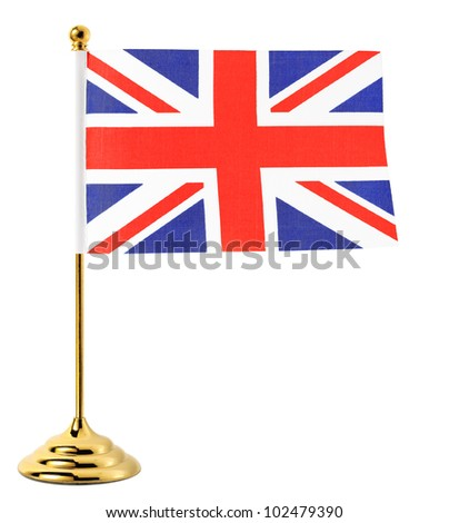 Gold flagpole hanging the flag of UK,Isolated on the white background