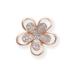 gold flower brooch with diamonds isolated on white