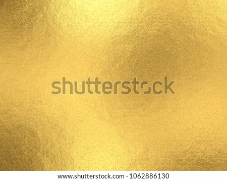 Gold foil background with light reflections. Golden textured wall. 3D rendering. #1062886130