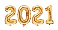 Gold foil balloons numeral 2021. Happy new year 2021 holiday. 2021 golden decoration holiday on white background.