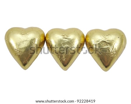 Gold Foil wrapped heart chocolates