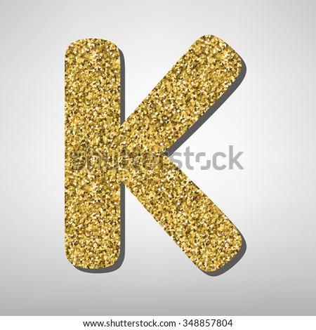 K Letter In Gold Gold font type letter K, uppercase. Victorian ABC element in vector ...