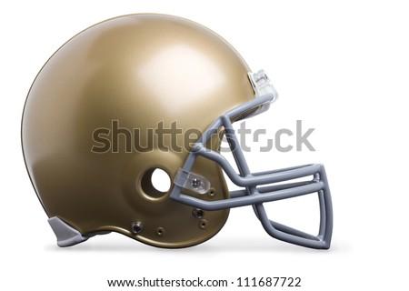 Gold football helmet isolated on white
