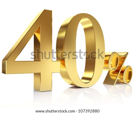 Gold forty percent discount symbol