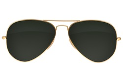 Gold frame aviator black sunglasses isolated on white background with clipping path