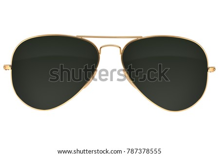 Gold frame aviator black sunglasses isolated on white background with clipping path #787378555